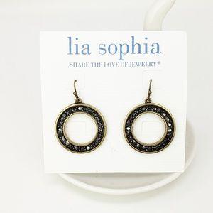 Lia Sophia Black Circle Dangle Earrings